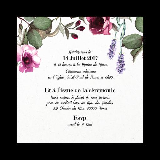 Invitation de mariage provencal, fleurs roses et lavande