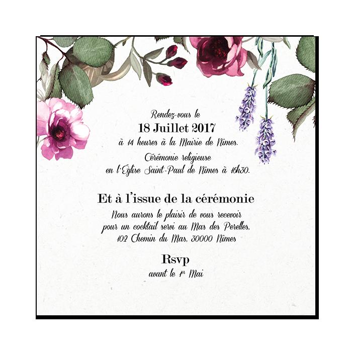 Très Faire-part mariage provençal : le bouquet de la mariée PF63