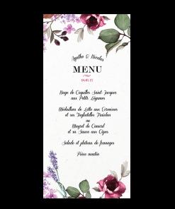 Menu de mariage à fleurs de Provence, lavande et roses