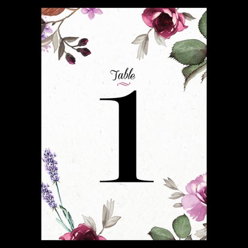 numéro de table de mariage personnalisé avec fleurs : rose et lavande
