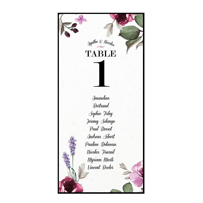 Plan de table de mariage sous forme de carte personnalisée