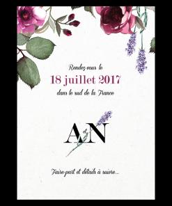 Save the date de mariage avec fleurs de provence, logo des mariés