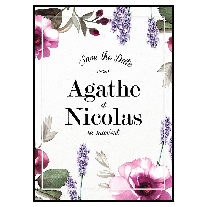 Save the date de mariage avec fleurs de provence