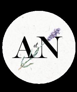 Sticker de mariage, initiales et fleur, brin de lavande