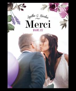 Carte de remerciement de mariage photo personnalisé
