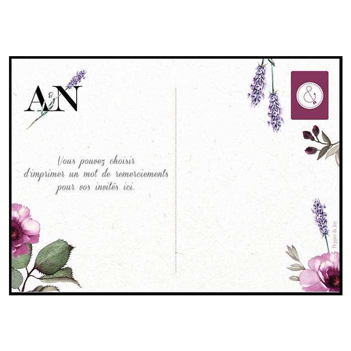 Carte postale de remerciements de mariage personnalisée avec votre photo