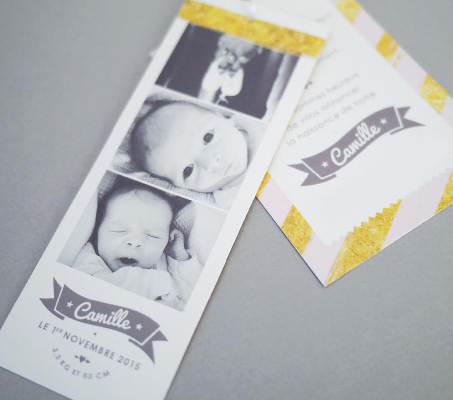 Faire-part de naissance photo façon photomaton, bande photo