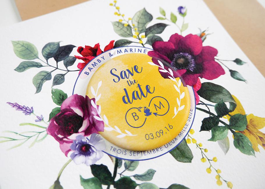 Save the date de mariage sur mesure magnet et fleurs