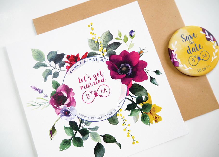 Save the date de mariage sur mesure fleurs à l'aquarelle
