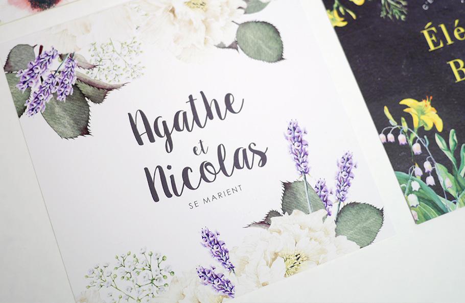 Faire-part de mariage champêtre aux fleurs de provence : lavande et roses blanches.