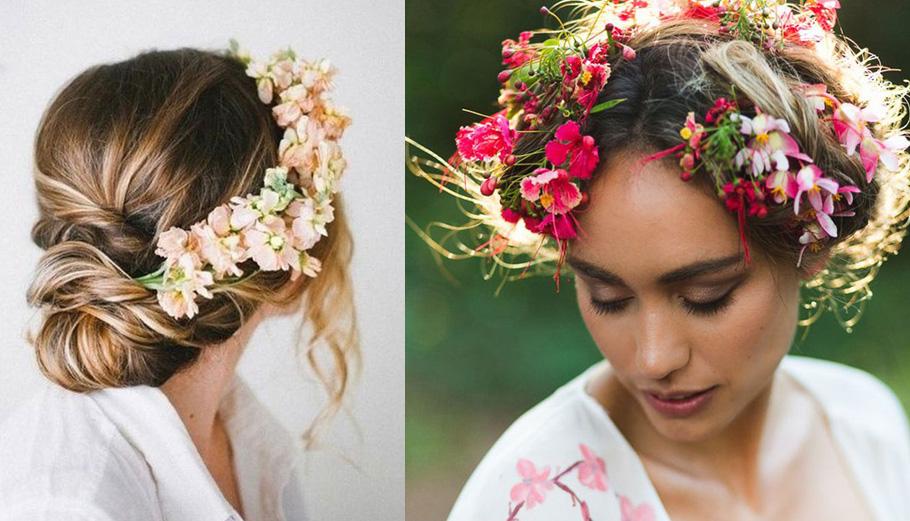 mariage champêtre, Coiffure de mariées à fleurs