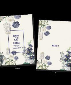 Livre d'or de mariage personnalisé avec fleursLivre d'or de mariage personnalisé avec fleurs de Provence en gravures anciennes.