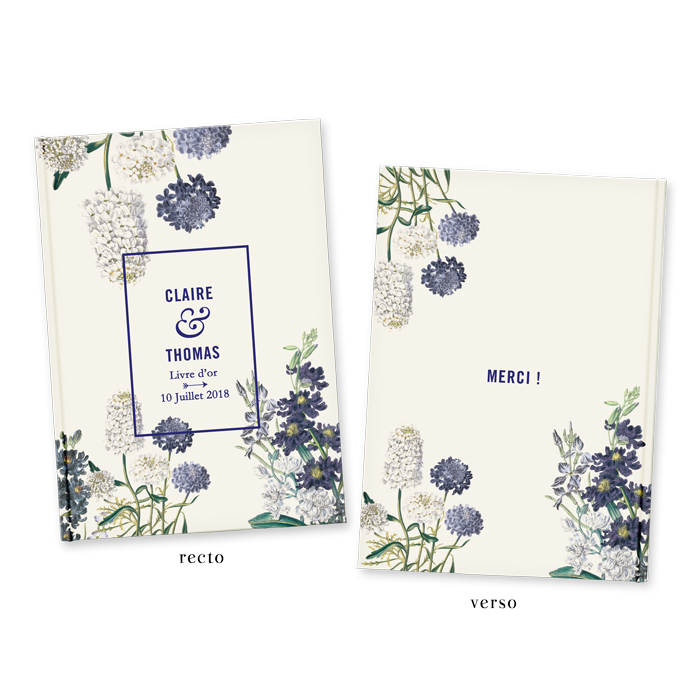 Livre d 39 or de mariage personnalis fleurs jardin botanique - Livre d or personnalise mariage ...