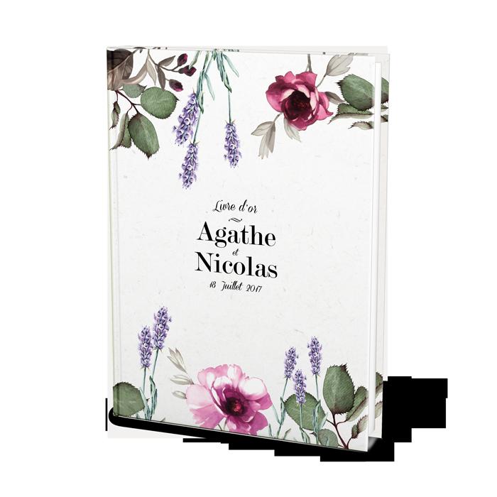 Livre d'or de mariage à fleurs personnalisé. Lavande et rose.