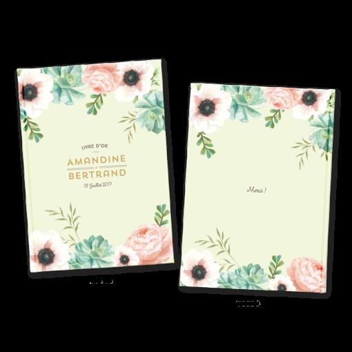 Livre d'or de mariage avec fleurs à l'aquarelle. Personnalisation de la couverture avec fleurs à l'aquarelle.