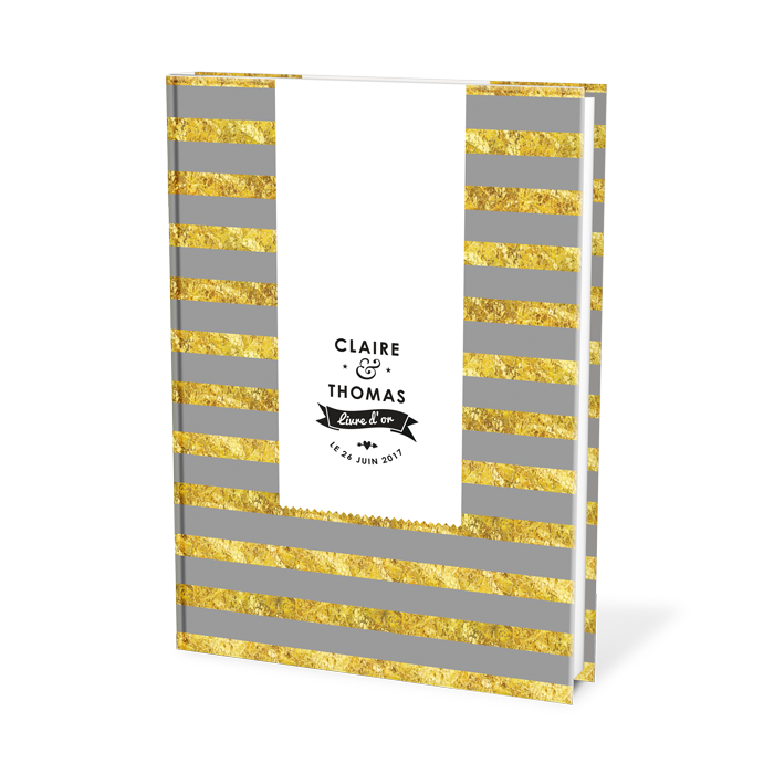 Livre d'or de mariage moderne. Cahier personnalisé A4 avec couverture customisée avec prenoms de mariés et date du mariage.