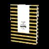 Livre d'or de mariage moderne et personnalisé à rayures noires et jaunes. Livre d'or personnalisé