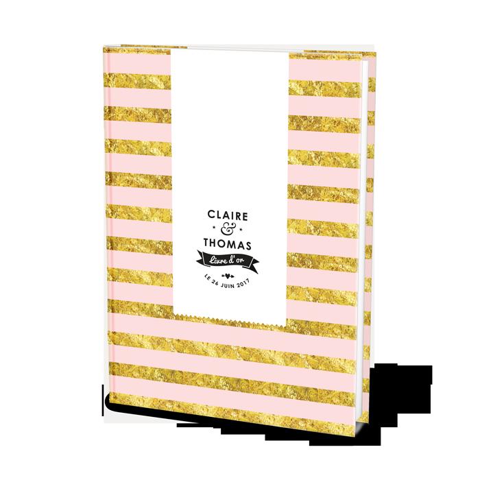 Livre d'or de mariage moderne et personnalisé, fond rose et rayures jaunes. personnalisation avec prénoms des mariés et date du mariage