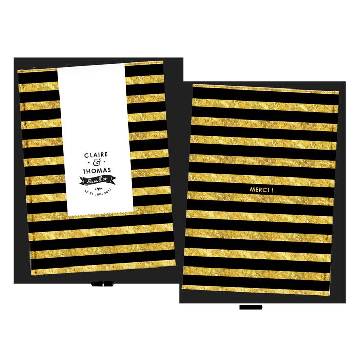 Livre d'or de mariage moderne et personnalisé, rayures, design noir et jaune