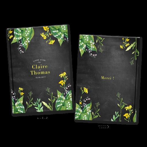 Livre d'or de mariage champêtre personnalisé, fleurs jaunes sur fond ardoise.
