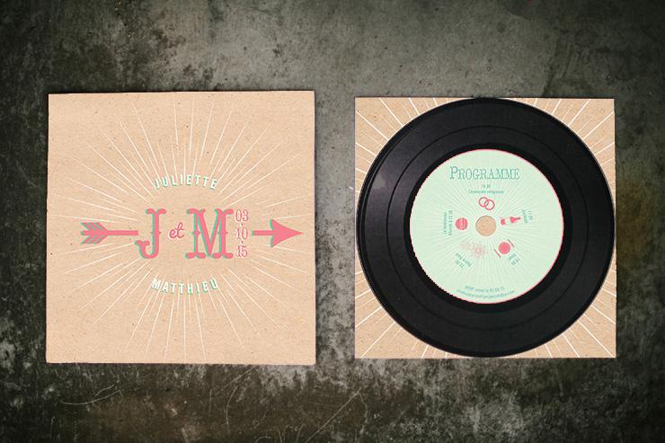 faire-part de mariage rock'n roll, pochette de disque Pepper & Joy