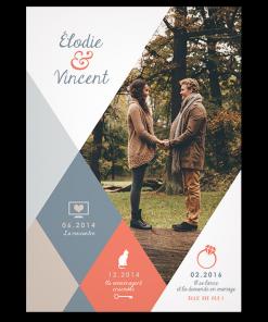 Faire-part de mariage photo personnalisé design moderne, thème et couleurs de l'Automne