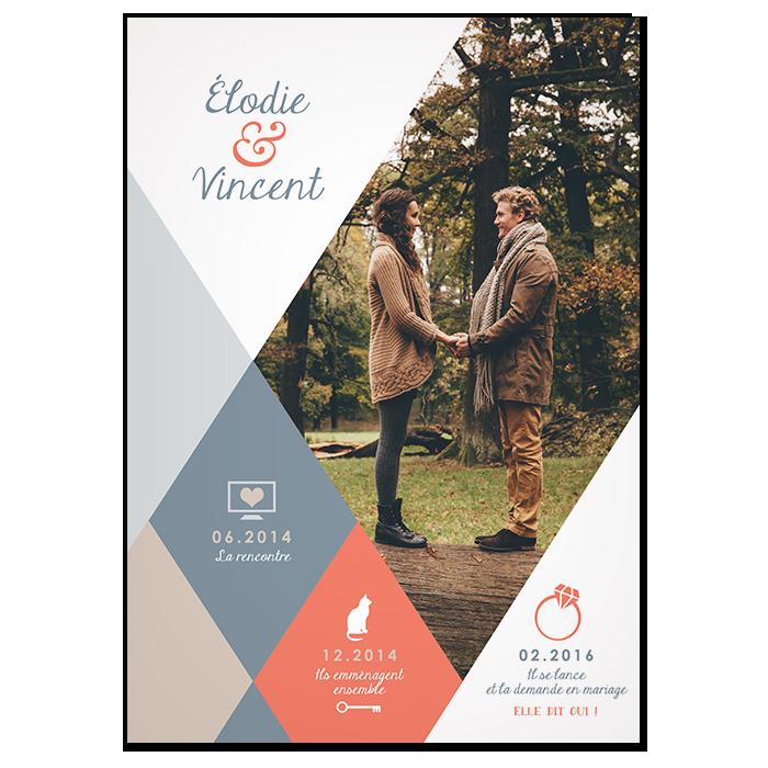 Faire-part de mariage photo design moderne, thème et couleurs de l'Automne
