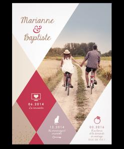 Faire-part de mariage photo personnalisé design moderne avec losanges de couleur parme, beige et fushia