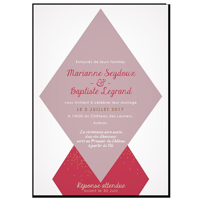 FFaire-part de mariage photo personnalisé design moderne, avec losanges et police d'écriture manuscrite