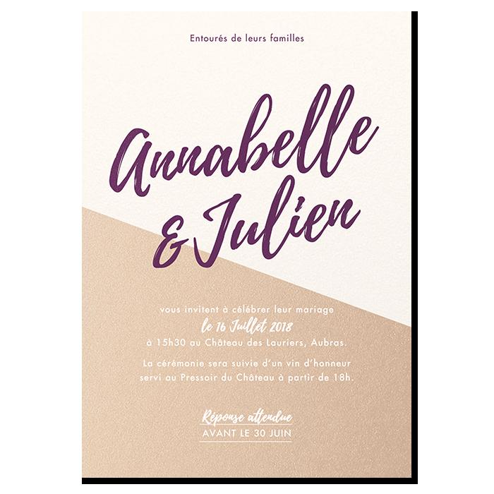 Invitation de mariage Nude, exemple de personnalisation beige et violet foncé