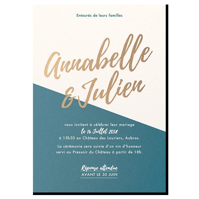 Invitation de mariage Nude, exemple de personnalisation, vert canard et taupe