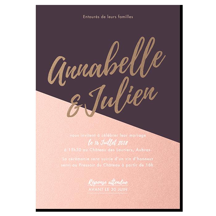 Invitation de mariage Nude, exemple de personnalisation rose et violet foncé