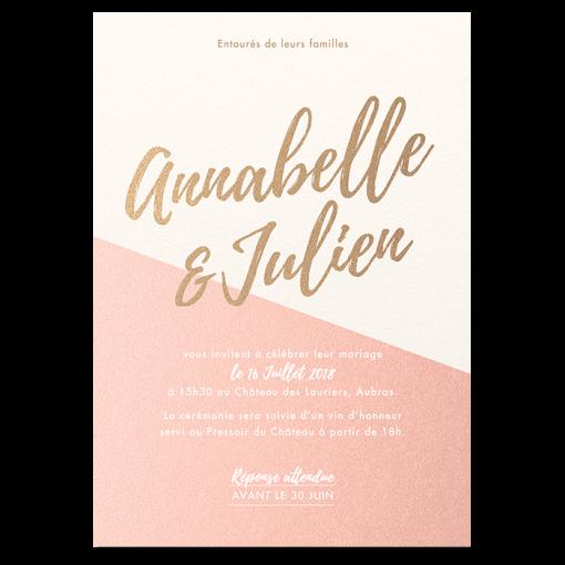 Invitation de mariage Nude rose poudré, papier nacré