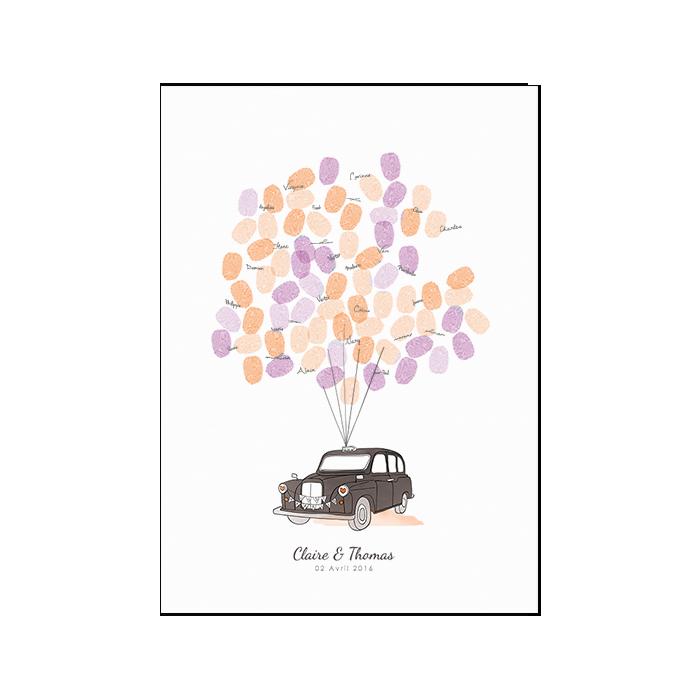 Livre d'or Taxi anglais pour mariage. Un poster personnalisé à completer avec les empreintes des mariés