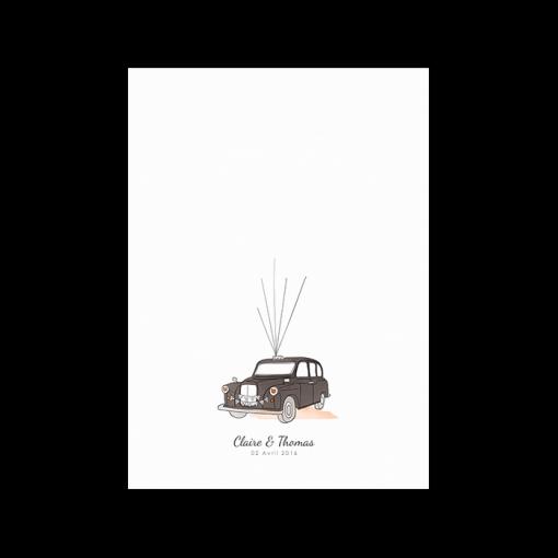 Livre d'or taxi anglais, poster souvenir de mariage