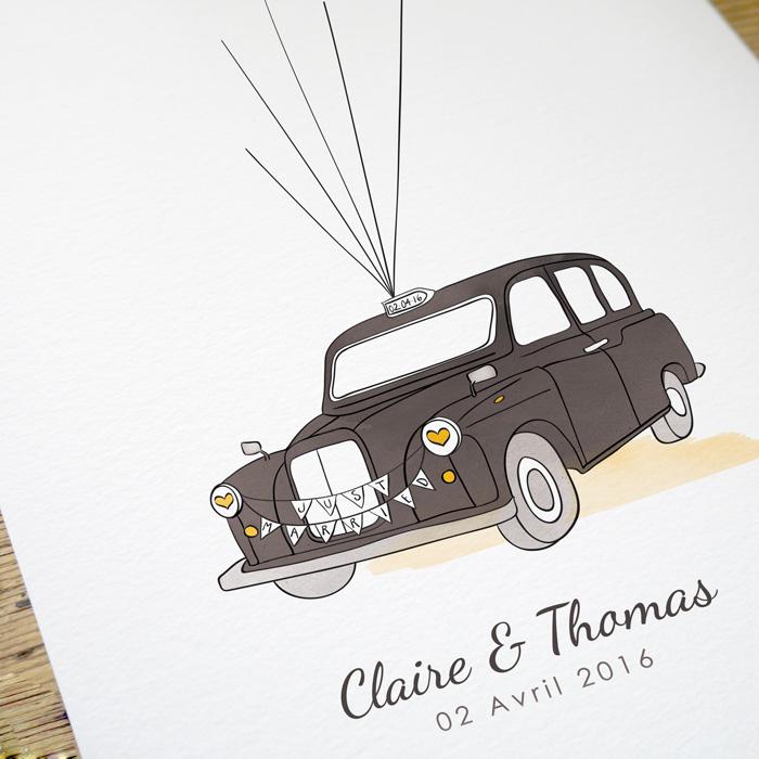 Livre d'or taxi anglais pour mariage. Poster personnalisé, idée d'animation de mariage