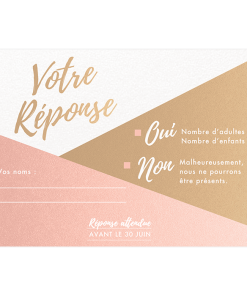 Carte postale, rsvp mariage, rose poudré papier à paillettes