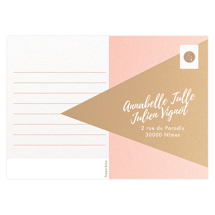Carton réponse, invitation de mariage nude, rose poudré