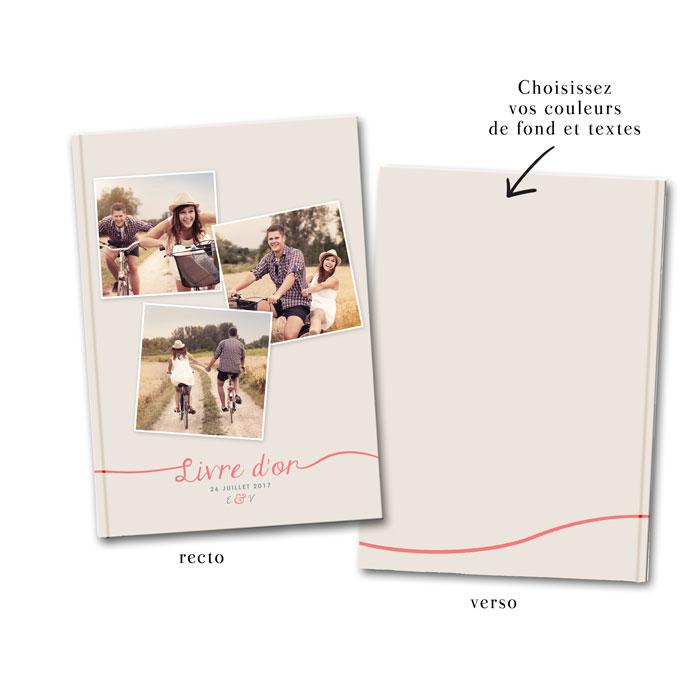 Livre d'or de mariage photo façon polaroids. Un livre d'or de mariage unique personnalisé avec des photos des mariés.