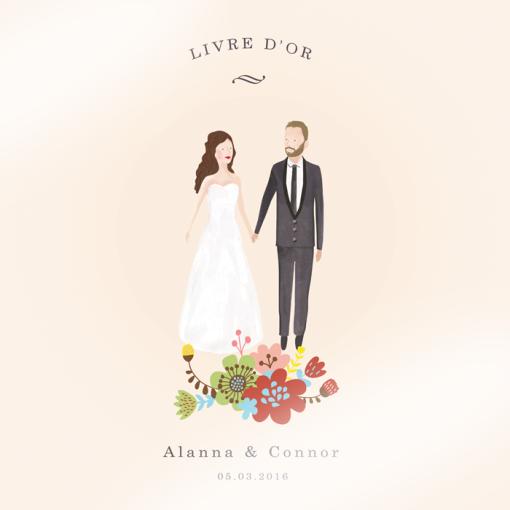 Livre d'or de mariage personnalisé avec portrait des mariés