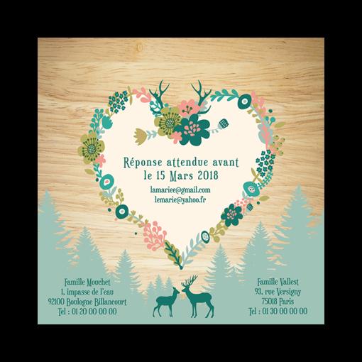 Faire-part de mariage montagnard, fond bois et vert mint. Couronne de fleurs en forme de coeur.