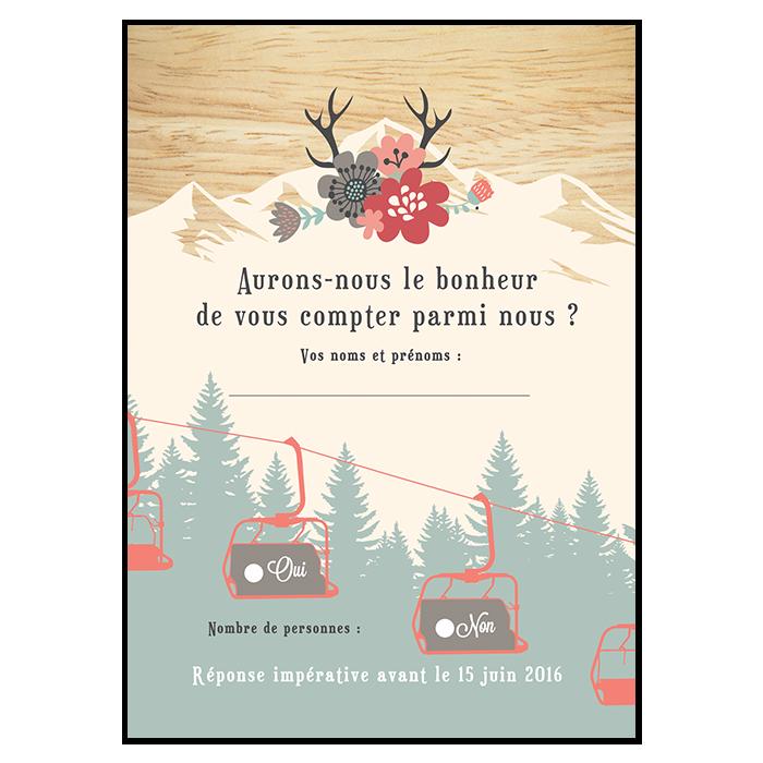 Carton réponse de mariage à la montagne, version télésieges