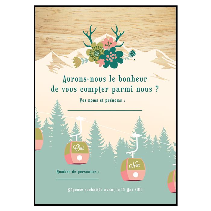 Carton réponse de mariage à la montagne, version télécabines
