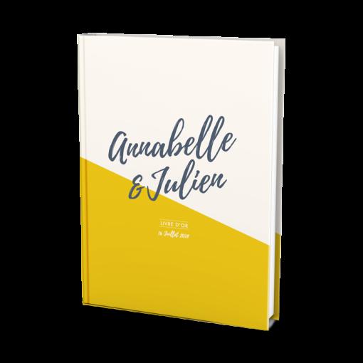 Livre d'or de mariage personnalisé avec les prénoms des mariés sur fond ivoire et jaune moutarde
