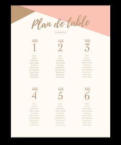 Plan de table de mariage personnalisé - poster rose poudré et or.