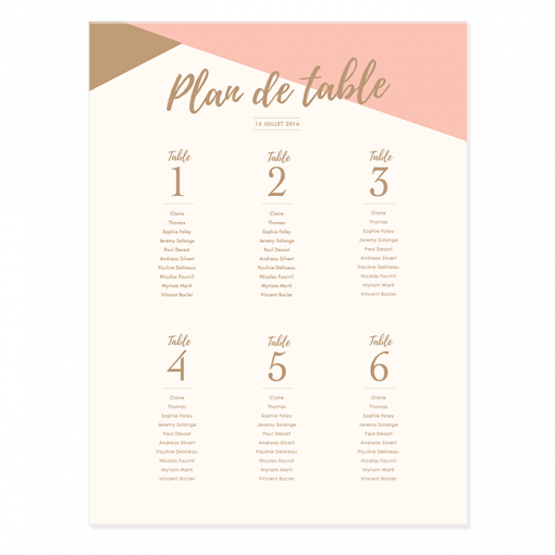 plan de table de mariage personnalis poster rose poudr et or. Black Bedroom Furniture Sets. Home Design Ideas