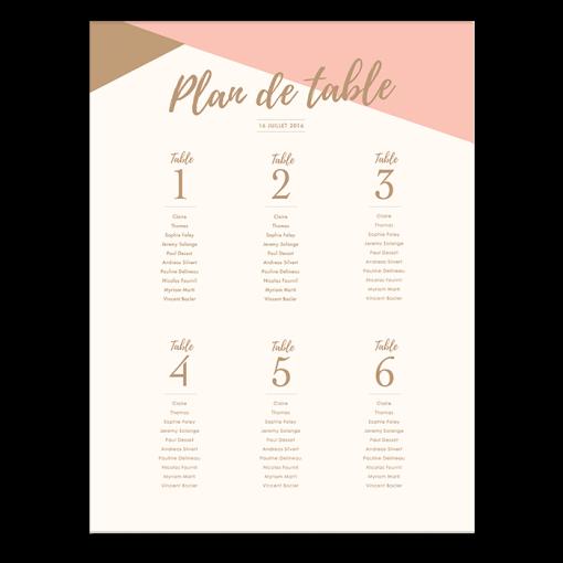 Plan de table de mariage personnalis poster rose poudr - Etiquette plan de table a imprimer gratuit ...