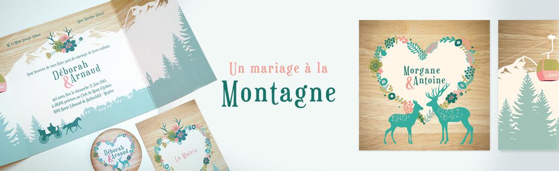 Faire-part de mariage Montagnes, invitation personnalisée