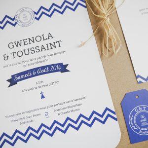 Faire-part de mariage sur mesure Breton, mariage en bretagne