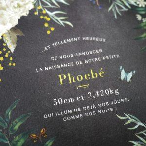 Faire-part de naissance sur mesure, botanique jaune et gris.